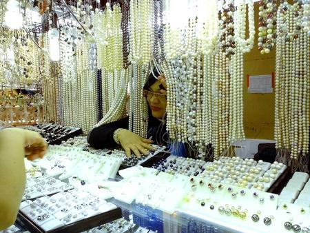 Bazaar shop selling pearl jewelry in greenhills, san juan city in philippines, asia