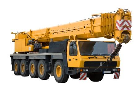 Mobile crane on white background, isolated