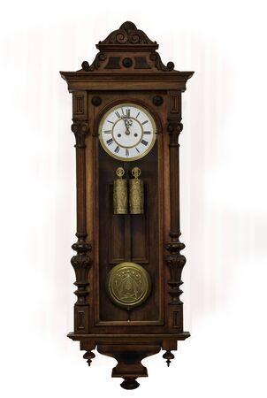 Foto de Grandfather clock in wooden case, europe, isolated - Imagen libre de derechos