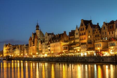 City center of Gdansk at night, Poland