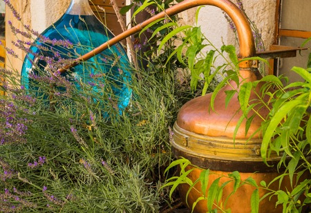 Retro apparatus for distillation of lavender oil in Provence, France.