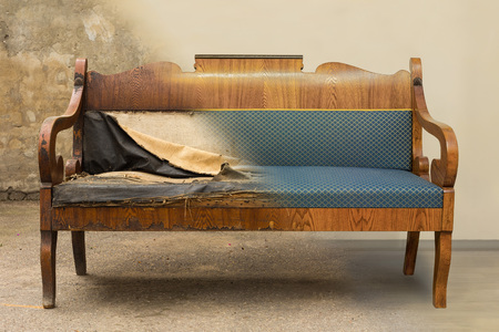 Photo for Antique Biedermeier style sofa with authentic fabric and wood carving before and after restoration , in a single photo - Royalty Free Image