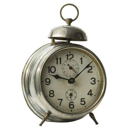 Foto de Beautiful vintage alarm clock isolated on white - Imagen libre de derechos