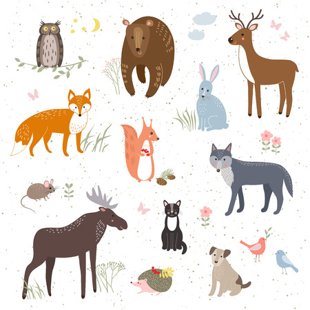 Vector set of cute animals: fox, bear, rabbit, squirrel, wolf, hedgehog, owl, deer, cat, dog, mouse.のイラスト素材