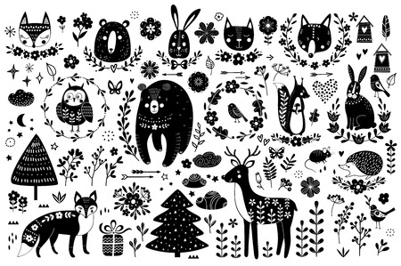 Vector set of cute animals: fox, bear, rabbit, squirrel, wolf, hedgehog, owl, deer, cat, mouse, birds. Collection of graphic elements: flowers, stars, clouds, arrows.のイラスト素材