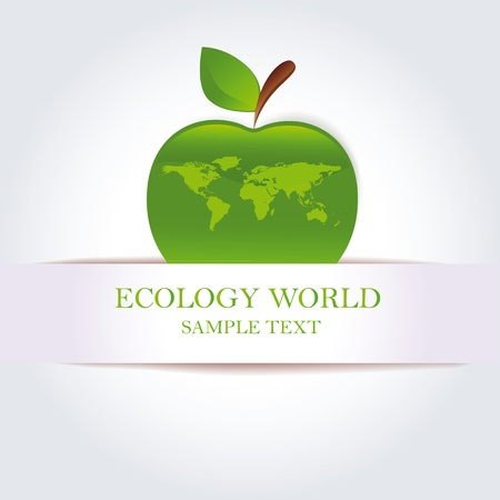 Green apple as ecology and clean world symbol