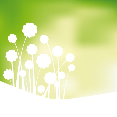 Green design background, flowers abstract