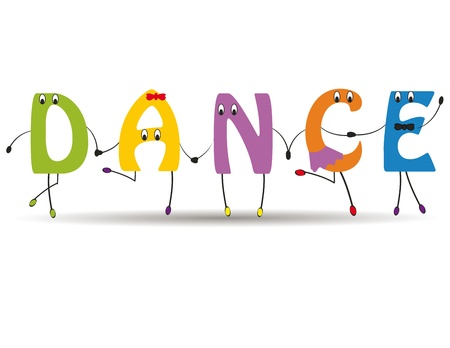 Word dance with colorful and funny letters