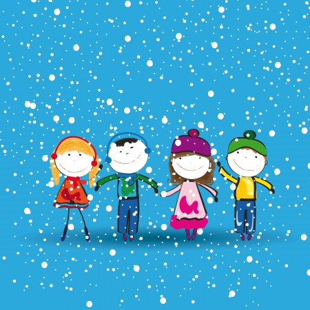 Small and happy kids in winter with snow