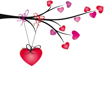 Cute hearts hang on brand with ribbons