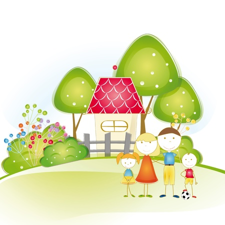 Cute and happy all family with as house