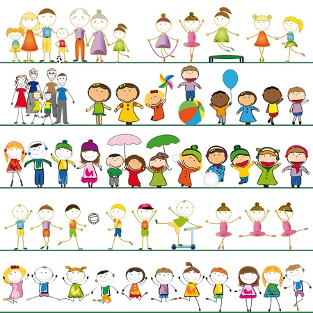 Many sets of boys, girls and family
