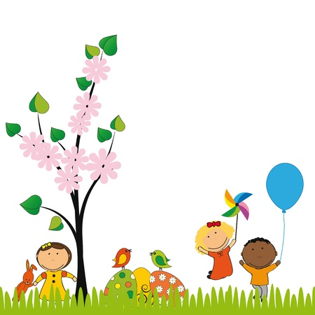 Cute easter card with kids and eggs