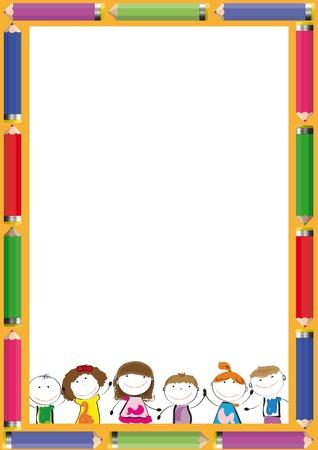 Illustration pour Frame with colorful crayons and happy kids - image libre de droit