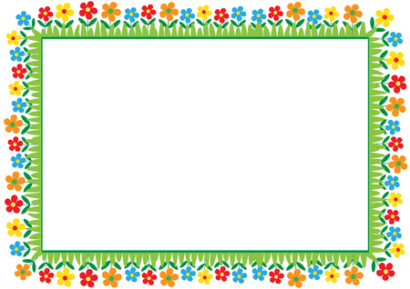 Cute and abstract frame with colorful flowers