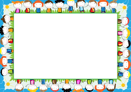 Illustration for Colored frame for children with happy boys and girls - Royalty Free Image
