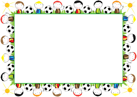 Illustration for Colored frame for children with happy boys - Royalty Free Image