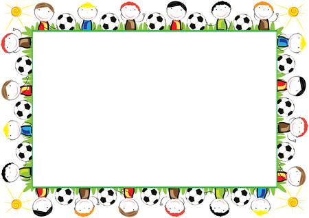 Ilustración de Colored frame for children with happy boys - Imagen libre de derechos