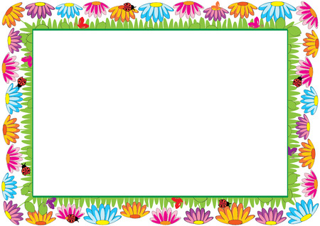 Colored frame for children with flowers and butterflies