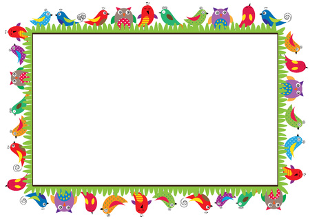 Illustration for Colored frame for children with birds - Royalty Free Image