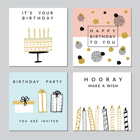 Illustration for Happy Birthday Party cards set. Vector hand drawn illustration. - Royalty Free Image