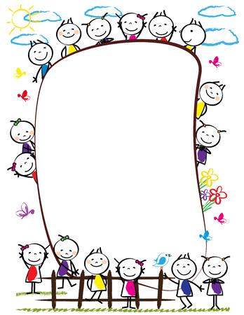 Ilustración de Frame with happy and colorful kids - boys and girls - Imagen libre de derechos
