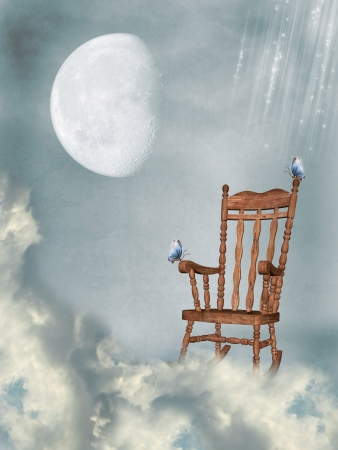 rocking chair in the sky with butterflies and moon