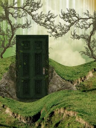 Magic door in the field with ivy