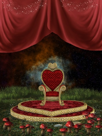 Magic throne with curtain and mushroom in the nigth