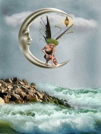 Fairy in the moon with fantasy landscape