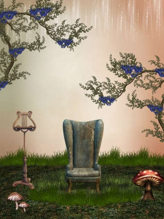 fantasy landscape in the garden with armchairs