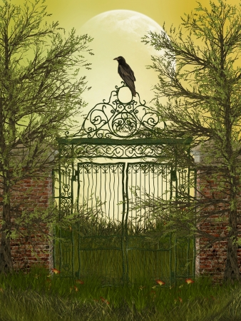 fantasy landscape with gateway and old raven