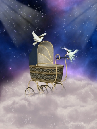baby carriage in fantasy landscape with doves