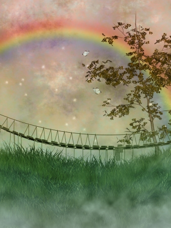 old bridge in a fantasy landscape with tree and rainbow