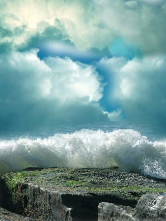 Fantasy landscape in the sea with big rock