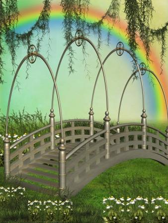 Fantasy bridge in the garden with rainbow