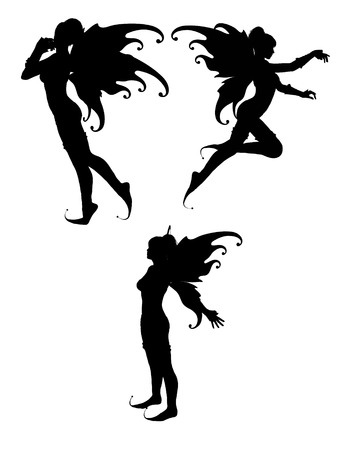 three silhouettes of isolated fairy in withe background