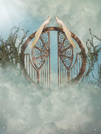 Photo pour Fantasy landscape in the heaven with gate - image libre de droit