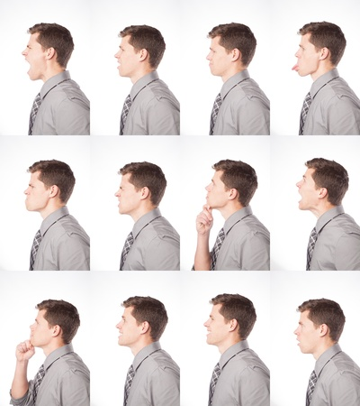 One dozen expressions of a young professional male are shown on an isolated background