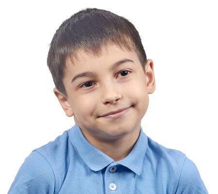 Photo pour emotional boy in a blue t-shirt isolate - image libre de droit
