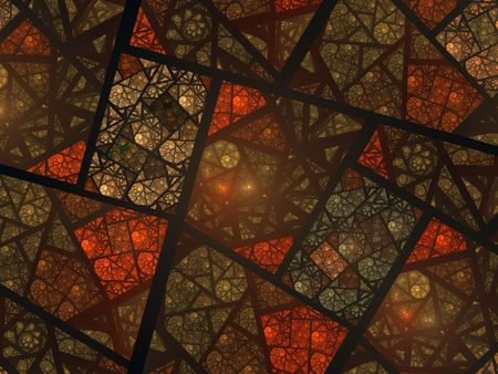Abstract fractal swirly stained glass window in earth tones