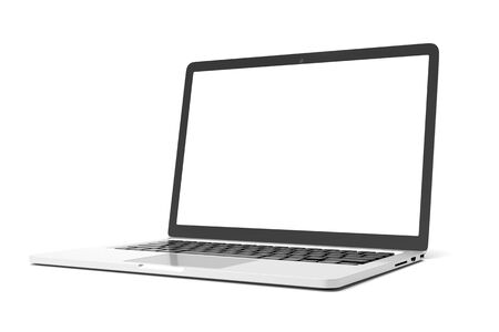 Photo pour Laptop computer with blank white screen isolate on white background. screen mockup template - image libre de droit