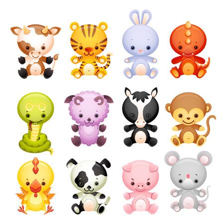 Foto de Vector illustration - set characters of chinese horoscope - Imagen libre de derechos