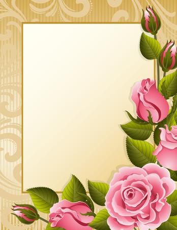 Illustration pour Vector illustration - pink roses and paper - image libre de droit