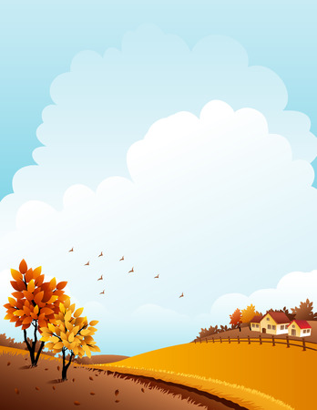 illustration - autumn rural landscape with farmのイラスト素材