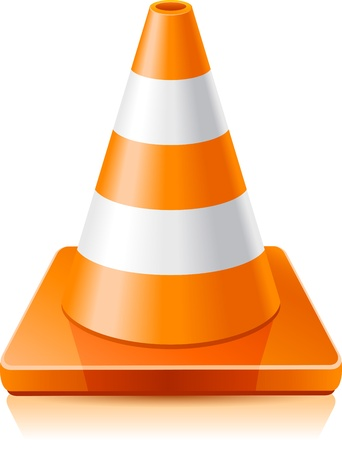 Vector illustration - traffic cone on a white background