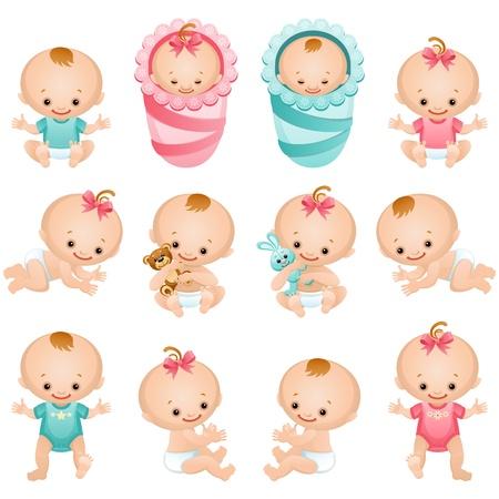 Illustration for Vector illustration - newborn baby icon set - Royalty Free Image