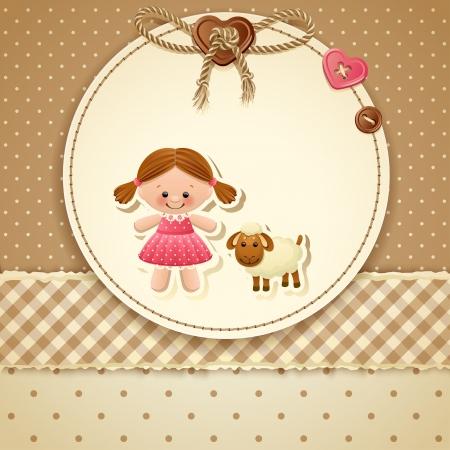 Illustration for Baby Shower Invitation ( girl) - Royalty Free Image