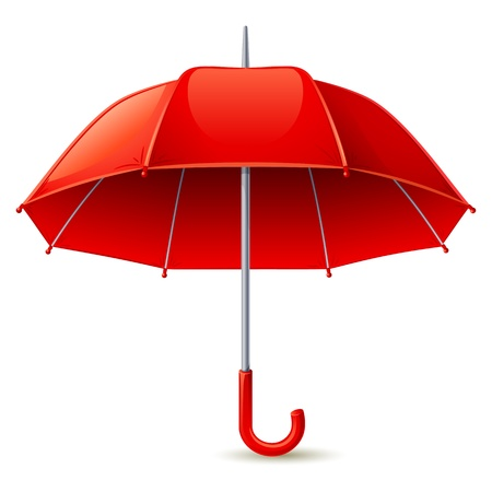 Vector illustration - red umbrella on white