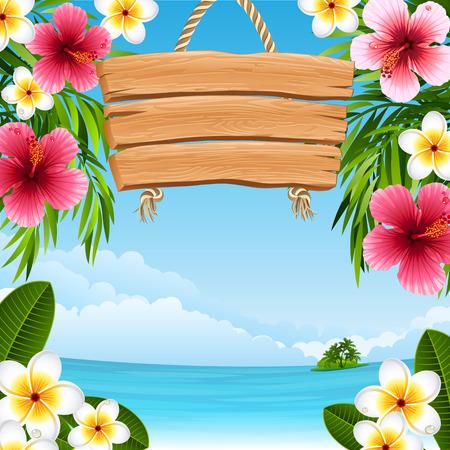 Illustration pour tropical landscape with flowers - image libre de droit